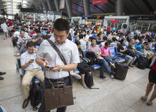 Overcrowded Chinese railway station Royalty Free Stock Image