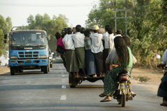 Overcrowded pickup truck on a highway in Yangon Royalty Free Stock Photos
