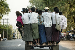 Overcrowded pickup truck on a highway in Yangon Royalty Free Stock Photo