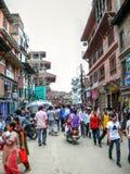 Overcrowded street - Kathmandu, The Streets of Thamel Royalty Free Stock Photo