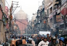 Overcrowded street in old town Delhi Royalty Free Stock Photo