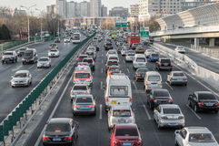 Overcrowding city traffic in beijing Stock Image