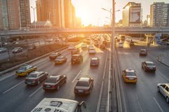 Overcrowding traffic in sunset Royalty Free Stock Photos