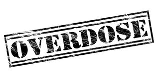 Overdose black stamp. Isolated on white background Stock Photos