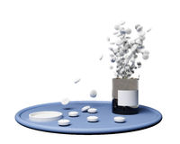 Medication dosage. Explosion of pills from a pill bottle Royalty Free Stock Images