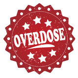 Overdose grunge stamp. Overdose red grunge stamp on white background Stock Photography