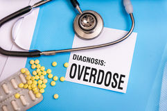 Overdose word written on medical blue folder with patient files. Pills and stethoscope on background stock image