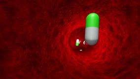 Overdosis van drugs, die met antibiotica en tabletten vergiftigen chemotherapie Toxicomania 3D animatie stock illustratie