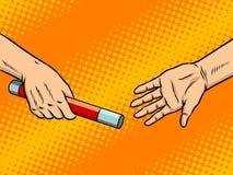 Overdracht van de vectorillustratie van het knuppelpop-art vector illustratie
