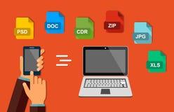 Overdracht van gegevens Dossierformaat De hand met de telefoon Verzend documenten van uw smartphone naar laptop Vector vector illustratie