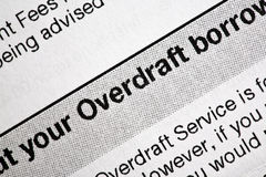 Overdraft Bank Statement. A close-up of an overdraft bank statement Stock Photography