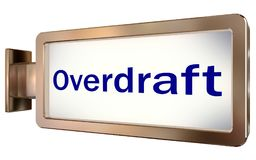 Overdraft on billboard background. Overdraft on wall light box billboard background , isolated on white Royalty Free Stock Image