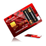 Overdraft Concept. Red Credit Card with Batteries that say Overdraft Stock Photo