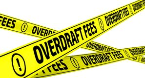 Overdraft fees. Yellow warning tapes. Yellow warning tapes with inscription OVERDRAFT FEES on the white surface. Isolated. 3D Illustration Stock Photos