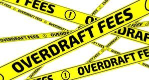 Overdraft fees. Yellow warning tapes. Yellow warning tapes with inscription OVERDRAFT FEES on the white surface. Isolated. 3D Illustration Stock Photography