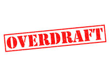 OVERDRAFT. Red Rubber Stamp over a white background Stock Images