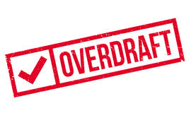 Overdraft rubber stamp. Grunge design with dust scratches. Effects can be easily removed for a clean, crisp look. Color is easily changed Stock Photography