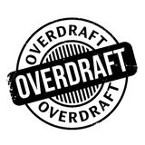 Overdraft rubber stamp. Grunge design with dust scratches. Effects can be easily removed for a clean, crisp look. Color is easily changed Royalty Free Stock Photography