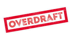 Overdraft rubber stamp. On white. Print, impress overprint Stock Image