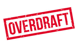Overdraft rubber stamp. On white. Print, impress overprint Stock Images