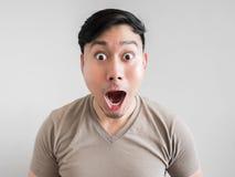 Overdreven schok en verrassingsgezicht van de mens Stock Fotografie