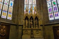 Overdrukplaatje van St Vitus Cathedral in Praag Stock Foto