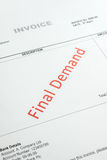 Overdue Invoice Notice. Overdue Invoice with final demand notification in red Stock Photos