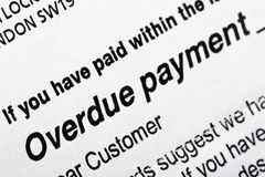Overdue Payment Bill. Statement close-up Stock Images