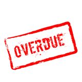 Overdue red rubber stamp isolated on white. Royalty Free Stock Photos