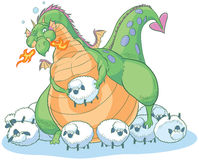 Overeating fat cartoon dragon with clueless sheep. An overeating fat cartoon dragon discovers that you can have too much of a good thing. Though too full to eat vector illustration