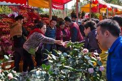 Overeenkomst in bloemmarkt Stock Foto