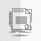 overeenkomst, contract, overeenkomst, document, document Lijnpictogram over Transparante Achtergrond Zwarte pictogram vectorillus vector illustratie