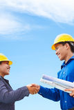 Overeenkomst op bouwplan Stock Foto's