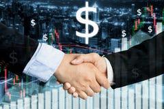 Overeenkomst of overeenkomsten bedrijfsconcept, handdruk dubbele blootstelling, c stock foto's