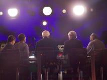 Overeenkomst van de Filmlive during DNC van vijf de NBC- Nieuwscommentators Stock Foto