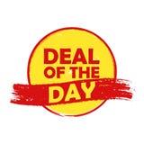 Overeenkomst van het dag, gele en oranje rond getrokken etiket Stock Foto