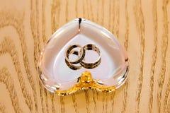 Overeenkomsten gouden ringen op de tribune Royalty-vrije Stock Foto's