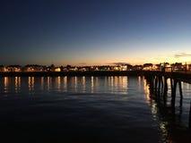 Overeenkomstenpijler bij Zonsondergang stock fotografie