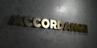 Overeenstemming - Gouden tekst op zwarte achtergrond - 3D teruggegeven royalty vrij voorraadbeeld royalty-vrije illustratie