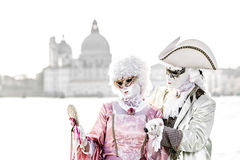 Overexposed aristocrat couple during venice carnival Stock Image
