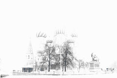 Overexposed Saint Basil`s Cathedral bokeh background stock photos