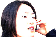 Overexposure. Overexposed woman on phone Stock Photography