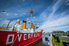 The Overfalls Lightship in Lewes, Delaware. Stock Images