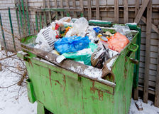 Overfilled trash dumpster from above view Royalty Free Stock Image