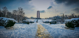 overfiltered艺术性的风景全景在从布加勒斯特的卡罗尔公园 图库摄影
