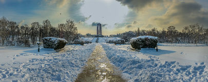 Overfiltered artistic landscape panorama in Carol Park from Bucharest Royalty Free Stock Photo