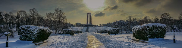 overfiltered artistic winter landscape panorama in Carol Park from Bucharest Royalty Free Stock Photography
