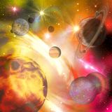 Overfiltered fantasy colorful planets in a lighting universe Royalty Free Stock Photography