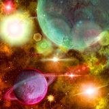 Overfiltered fantasy colorful planets in a lighting universe Stock Image
