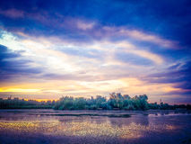 Overfiltered fantasy dramatic artistic story scene in danube delta from romania Royalty Free Stock Photos